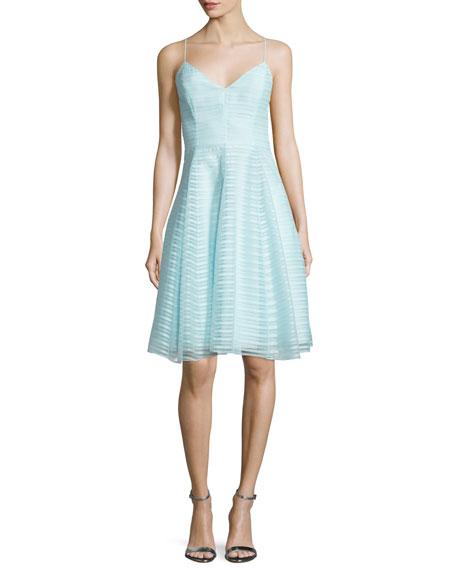 Halston Heritage Sleeveless Textured-Stripe Dress, Foam