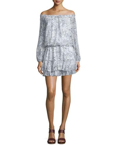 Kenji Off-The-Shoulder Silk Mini Dress, Ivory/Navy