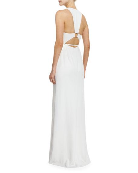 Halston Heritage Sleeveless Trapeze-Back Gown, Linen White