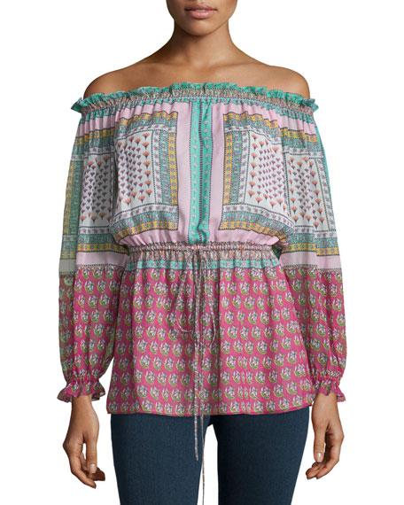 Diane von Furstenberg Camila Zen Scarf Silk Off-the-Shoulder