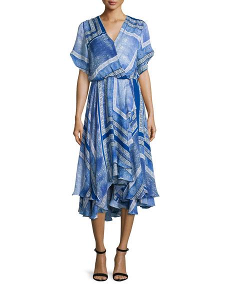 Parker Dominica Short-Sleeve V-Neck Dress, Blue Pattern