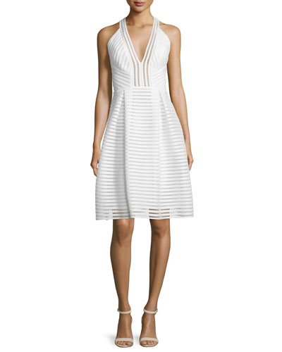 Sleeveless Textured-Mesh A-Line Dress, Ivory