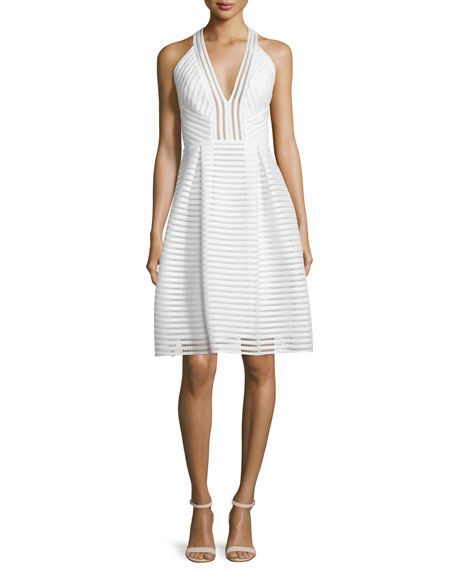 Carmen Marc Valvo Sleeveless Textured-Mesh A-Line Dress, Ivory