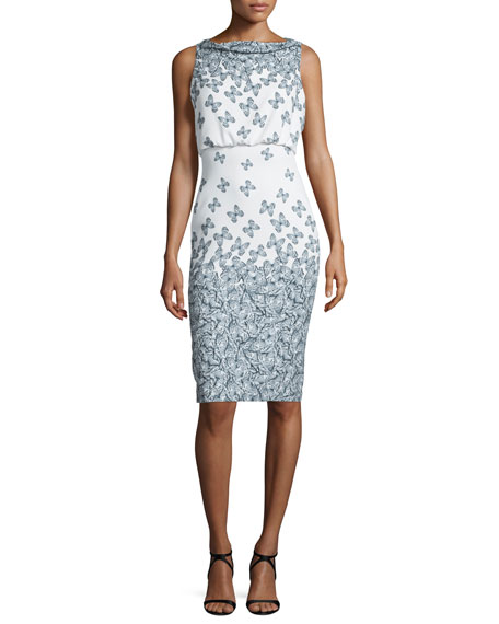 Badgley MischkaSleeveless Cowl-Neck Printed Cocktail Dress,