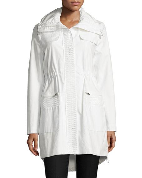 Elie Tahari Julia Mesh-Inset Anorak Jacket, Spring White