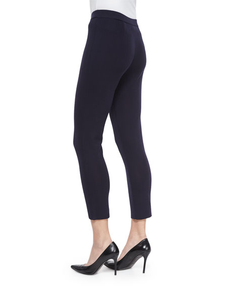Slim Knit Ankle Pants, Navy, Petite