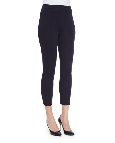 Slim Knit Ankle Pants, Navy, Petite