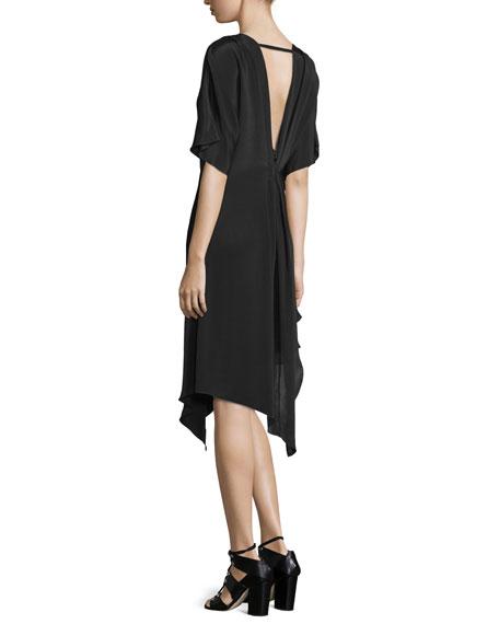 Geena Asymmetric V-Neck Dress, Black