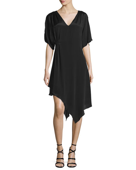 Alice + Olivia Geena Asymmetric V-Neck Dress, Black