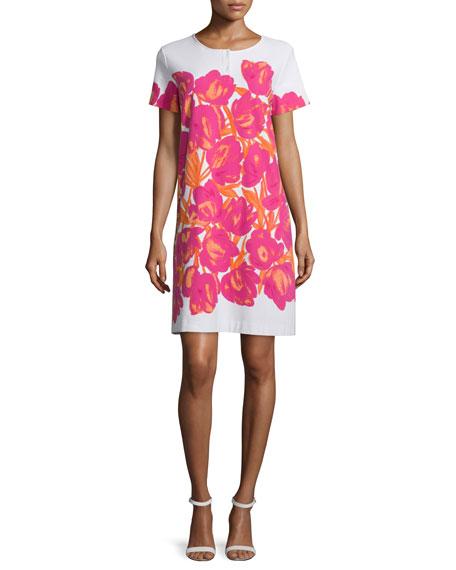 Joan Vass Short-Sleeve Floral-Print Pique Dress, Petite