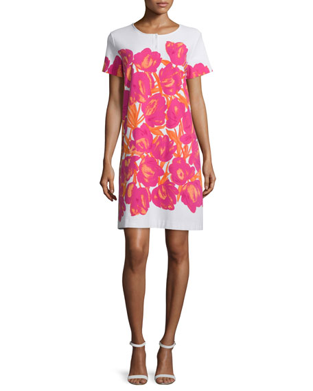 Joan Vass Short-Sleeve Floral-Print Pique Dress