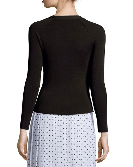 Theory Imalene Refine Ribbed Wool Cardigan
