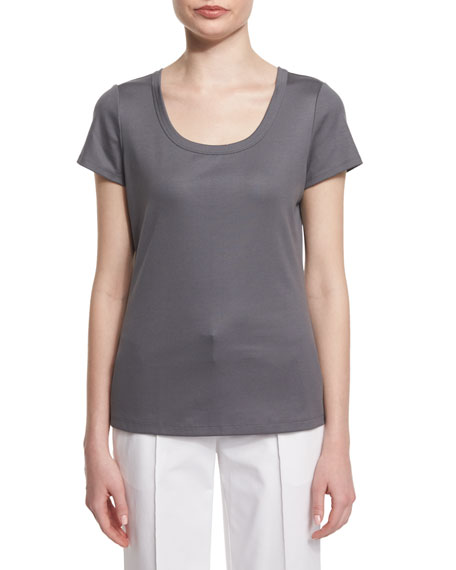 Lafayette 148 New York Cotton-Stretch Basic Scoop-Neck Tee,