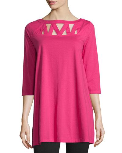 3/4-Sleeve Yoke-Cutout Tunic, Women's