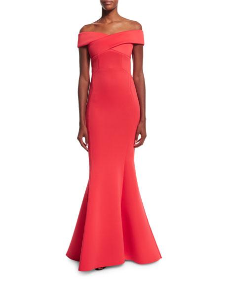 Rachel Gilbert Enico Off-the-Shoulder Knit Mermaid Gown,