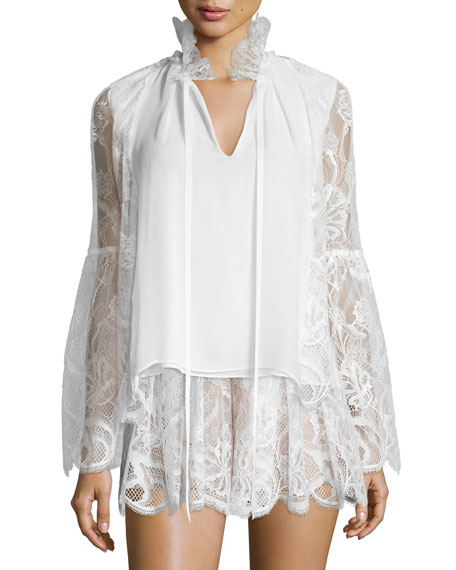 AlexisTove Lace & Silk Blouse, White