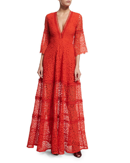 Akyria V-Neck Lace Maxi Dress, Red