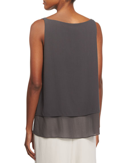 Georgette Shell W/ Layered Hem, Petite