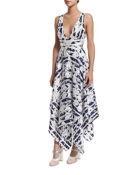 Alexis Keilani Sleeveless Striped Midi Dress, Navy Blossom