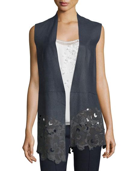 Elie Tahari Laila Open-Front Leather Vest, Navy