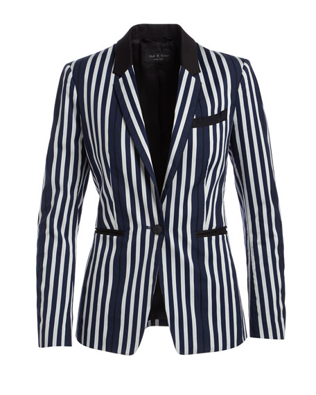 Windsor Striped Woven Blazer, Navy/White