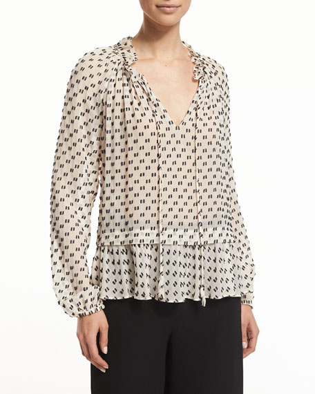 Rebecca Taylor Long-Sleeve Chiffon Box-Clip Top, Cream/Black