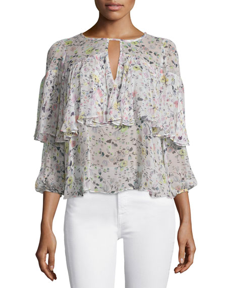 Rebecca Taylor Long-Sleeve Floral Silk Top, Cream