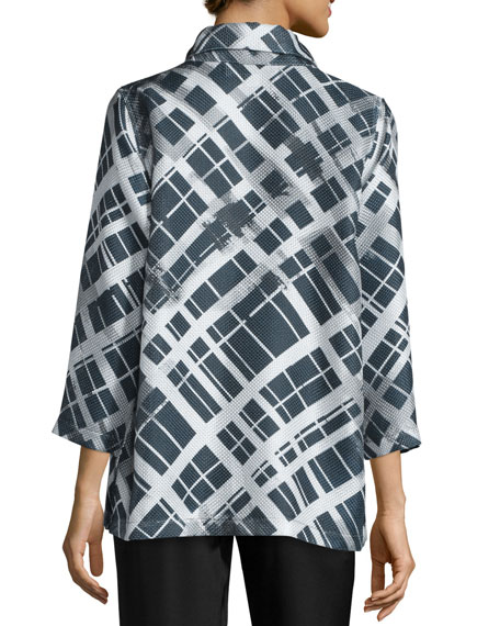 24/7 3/4-Sleeve Mid-Length Plaid-Print Jacket, Plus Size
