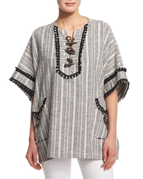 Derek Lam 10 Crosby Striped Toggle-Front Poncho, Midnight/Soft