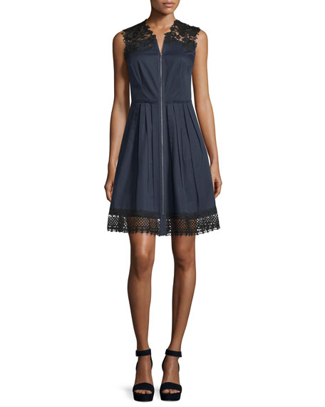 Elie Tahari Sleeveless Lace-Trim Dress, Navy Yard