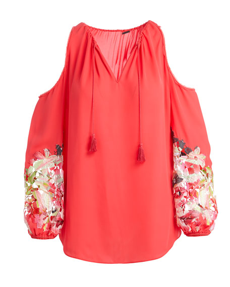 Cathy Cold-Shoulder Embroidered Blouse
