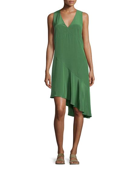 Tibi Sleeveless Silk Shift Dress, Vine Green