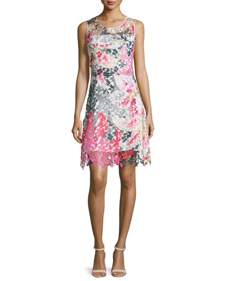 Elie Tahari Dharma Sleeveless Floral Lace Dress