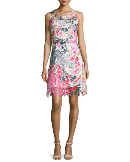 Elie Tahari Dharma Sleeveless Floral Lace Dress