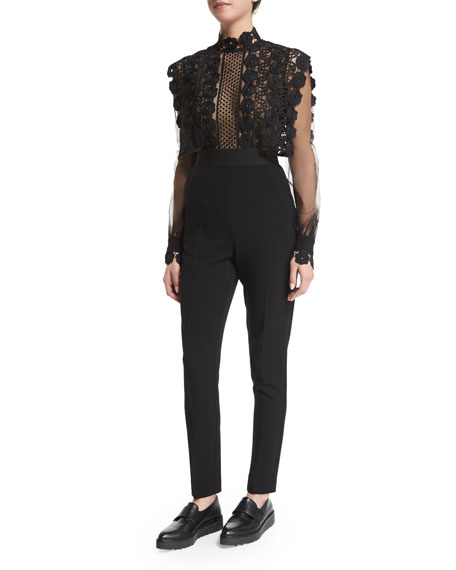 Self Portrait Long-Sleeve Combo Jumpsuit, Black