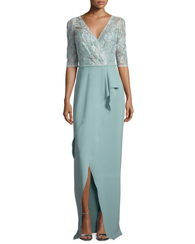 3/4-Sleeve Lace-Top Column Gown