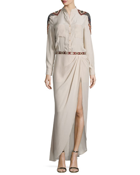 Haute Hippie Long-Sleeve Embroidered Silk Shirtdress, Buff