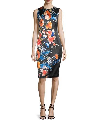 Sleeveless Floral-Print Sheath Dress