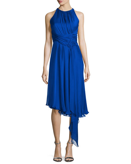 Carmen Marc Valvo Sleeveless Asymmetric Cocktail Dress