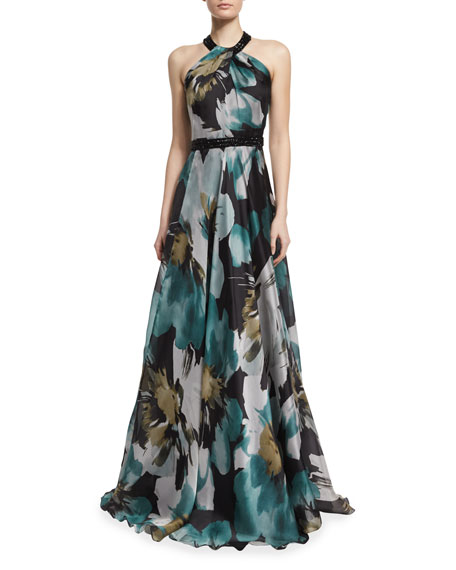 Sleeveless Floral-Print Ball Gown