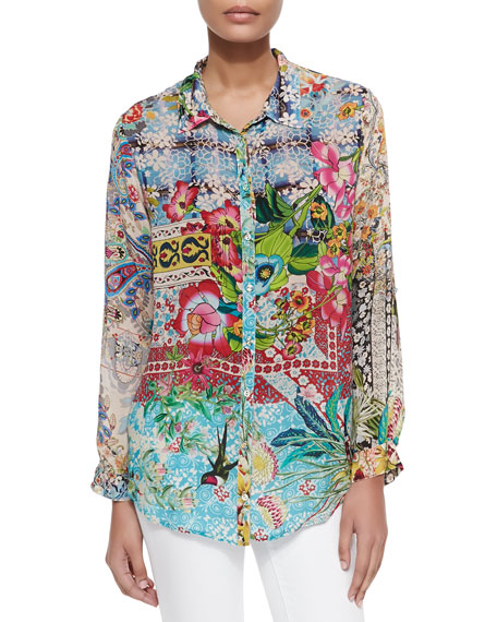 Johnny Was Collection Milla Long-Sleeve Floral-Print Blouse, Petite