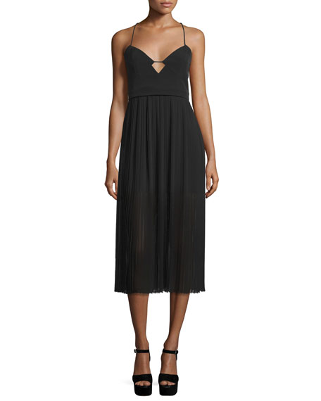 NicholasSweetheart-Neck Pleated Cami Dress, Black