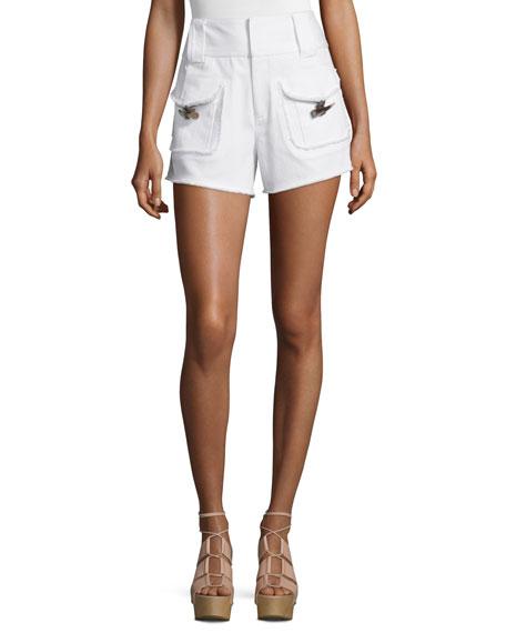 Derek Lam 10 Crosby High-Rise Stretch Denim Toggle-Pocket Shorts, White