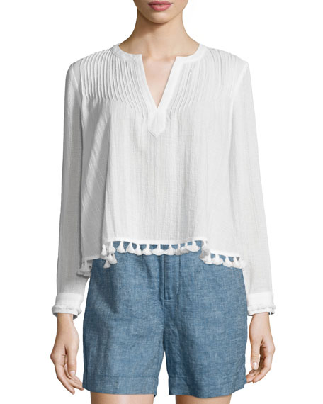 Derek Lam 10 Crosby Boxy Pintucked Tassel-Trim Cotton