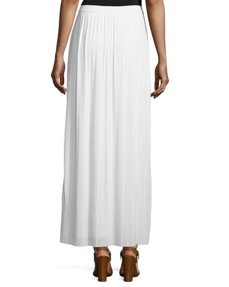 Petite Long Pleated Skirt, White