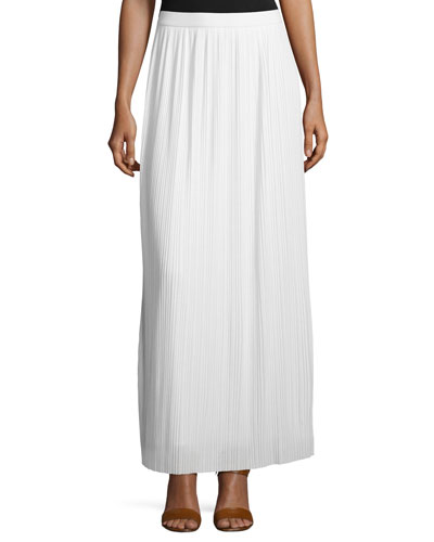 Long Pleated Skirt, White, Petite