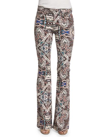 Low-Rise Paisley Flare-Leg Jeans, Capri Paisley