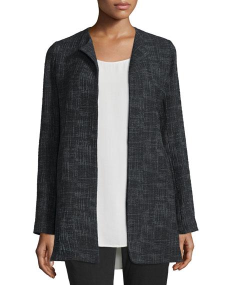 Eileen Fisher Crosshatch Tencel® Long Jacket, Black, Petite