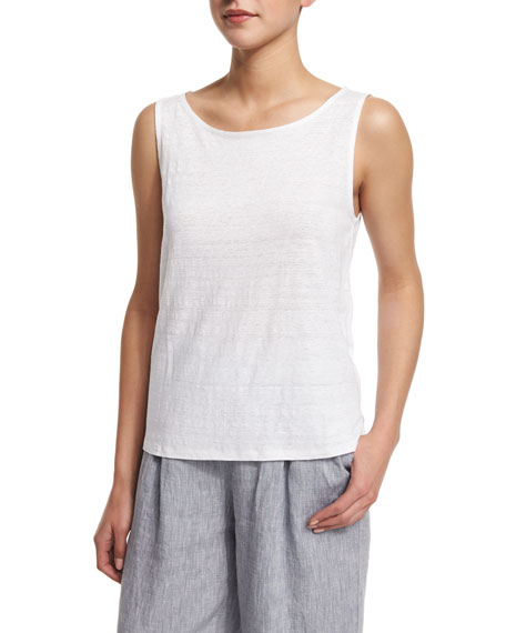 Eileen Fisher Sleeveless Organic Linen Shell, White