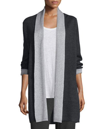 Long Double-Knit Merino Cardigan, Women's